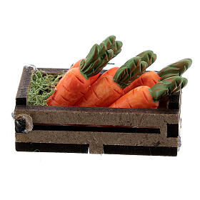 Wood box with carrots for Nativity Scene with 12-14 cm figurines s3