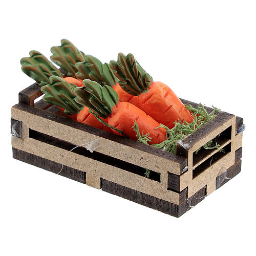 Wood box with carrots for Nativity Scene with 12-14 cm figurines 2