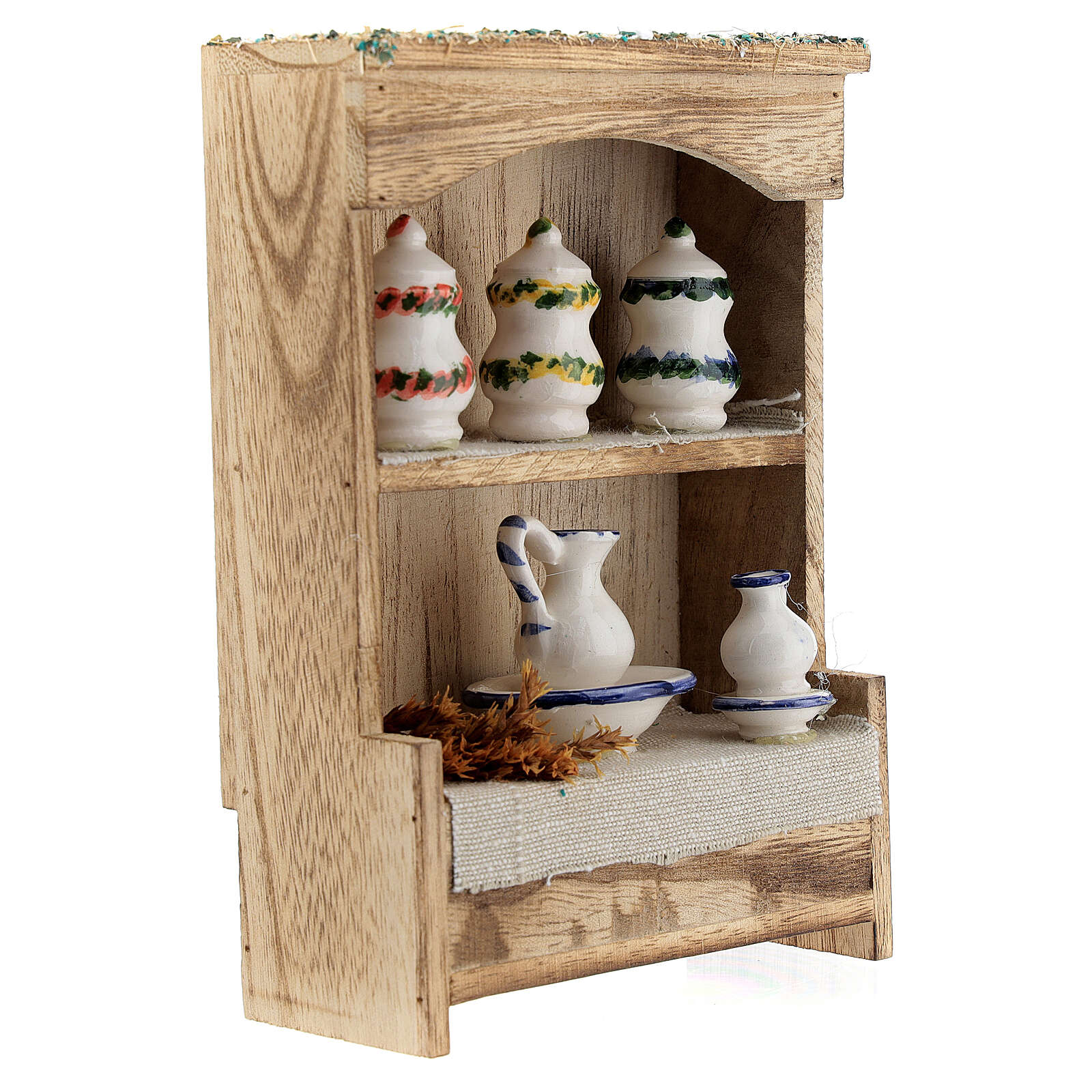 Cupboard with chinaware 15x10x4 cm for Nativity Scene with 12-14 cm figurines 4