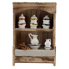 Cupboard with chinaware 15x10x4 cm for Nativity Scene with 12-14 cm figurines s1