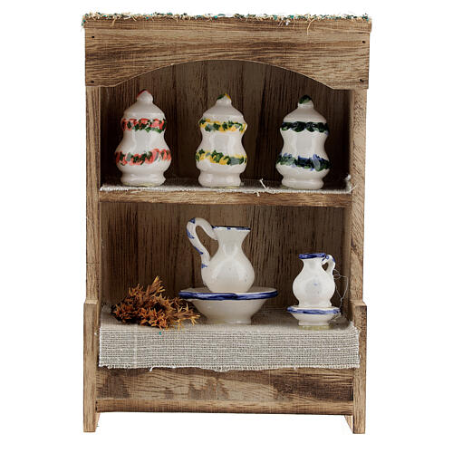 Cupboard with chinaware 15x10x4 cm for Nativity Scene with 12-14 cm figurines 1
