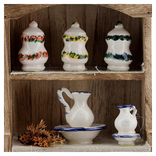 Cupboard with chinaware 15x10x4 cm for Nativity Scene with 12-14 cm figurines 2