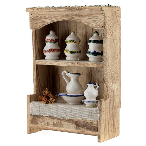 Cupboard with chinaware 15x10x4 cm for Nativity Scene with 12-14 cm figurines 3