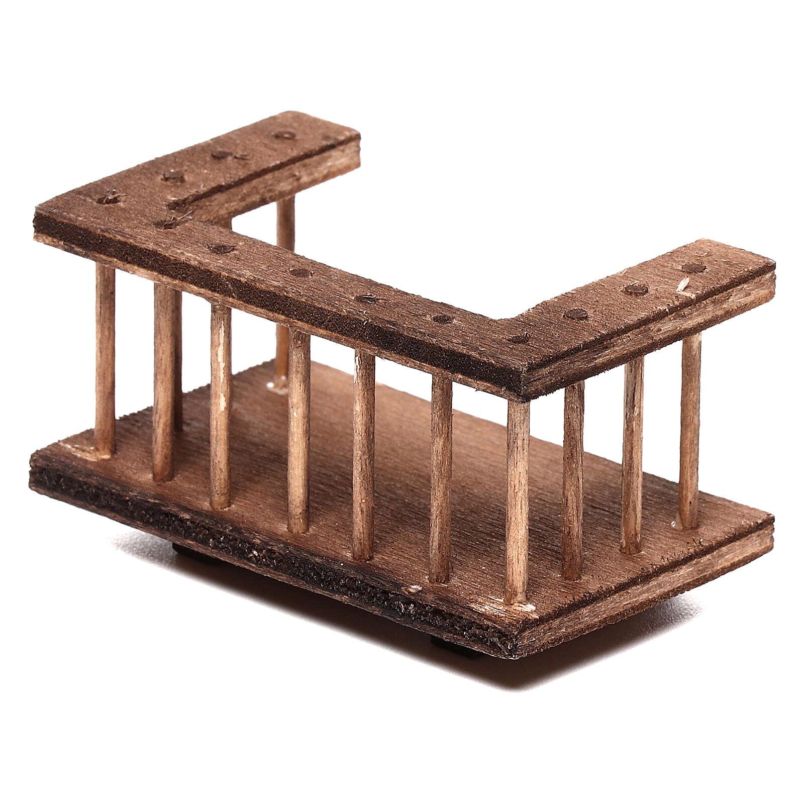 Balcone quadrato legno presepe 10 cm napoletano 6x3x3 cm 4