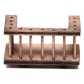 Balcone quadrato legno presepe 10 cm napoletano 6x3x3 cm s1