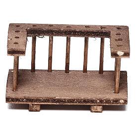 Balcone quadrato legno presepe 10 cm napoletano 6x3x3 cm s3