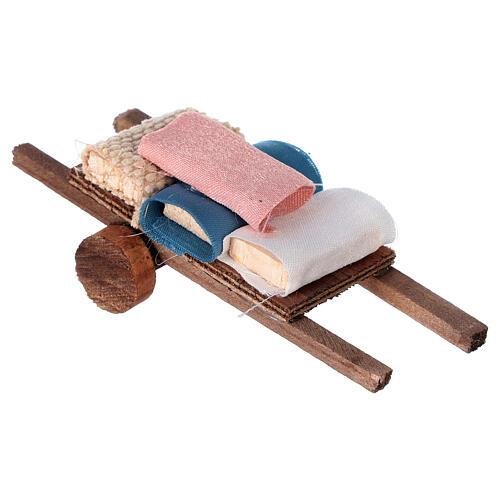Carretto con stoffa 5x15x5 presepe 8-10 cm 3