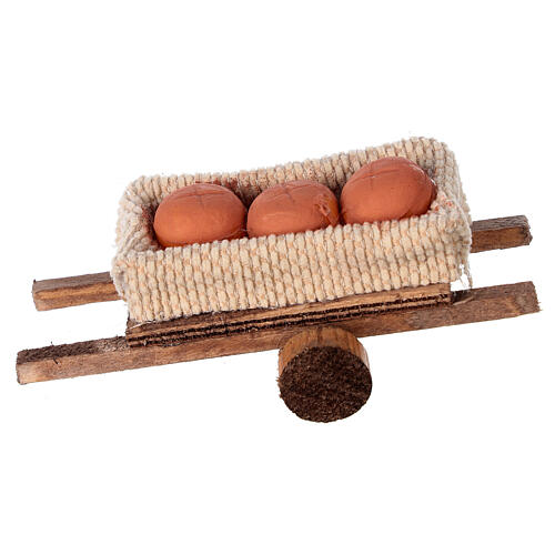 Cart with bread loaves 6x13x3.5 1