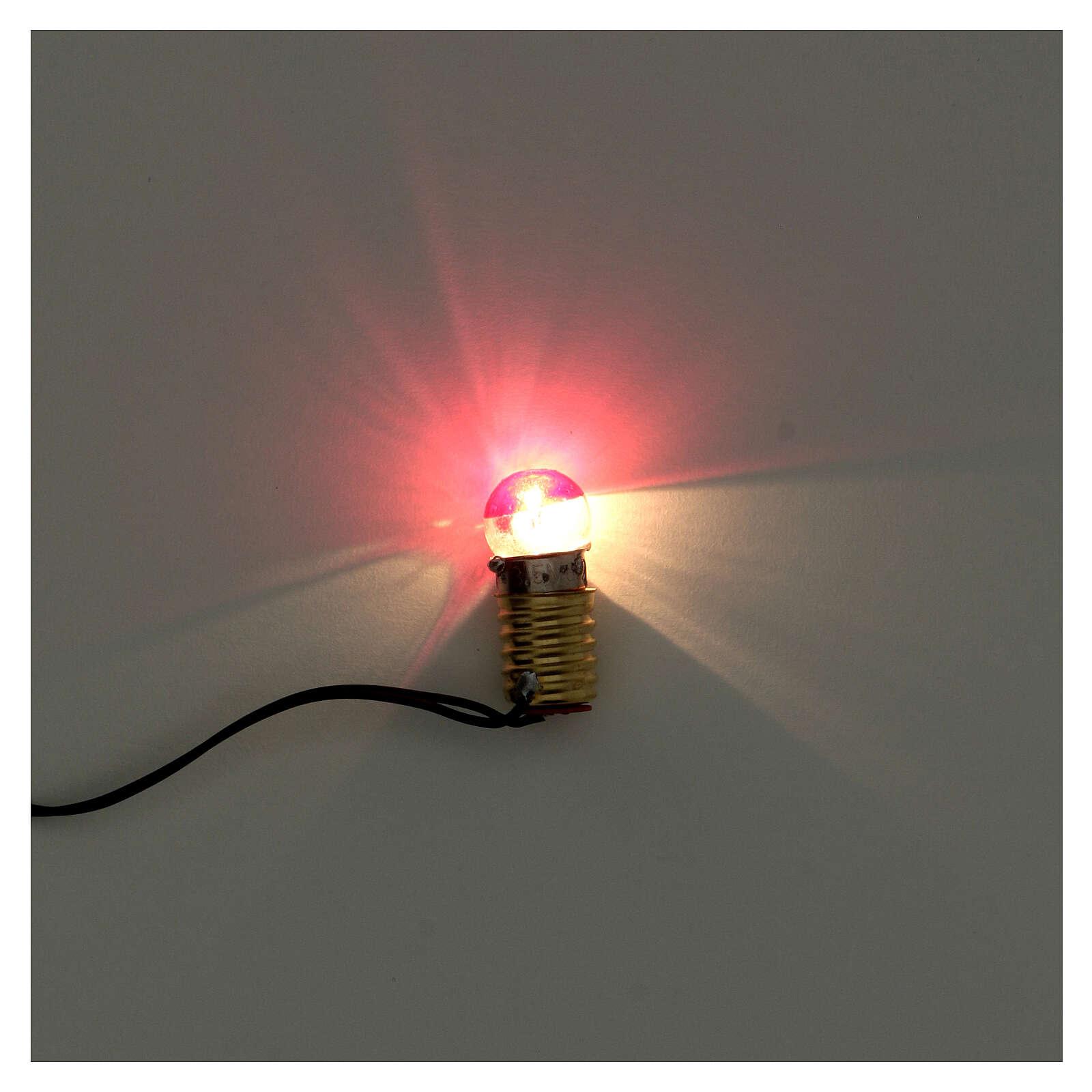 Casquilho E10 3,5 V com ficha e lâmpada vermelha 4