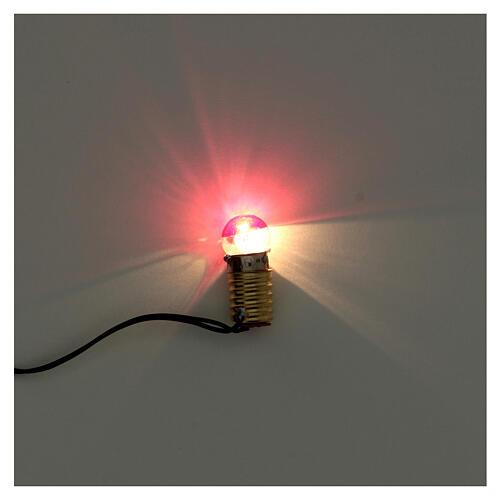 Casquilho E10 3,5 V com ficha e lâmpada vermelha 2