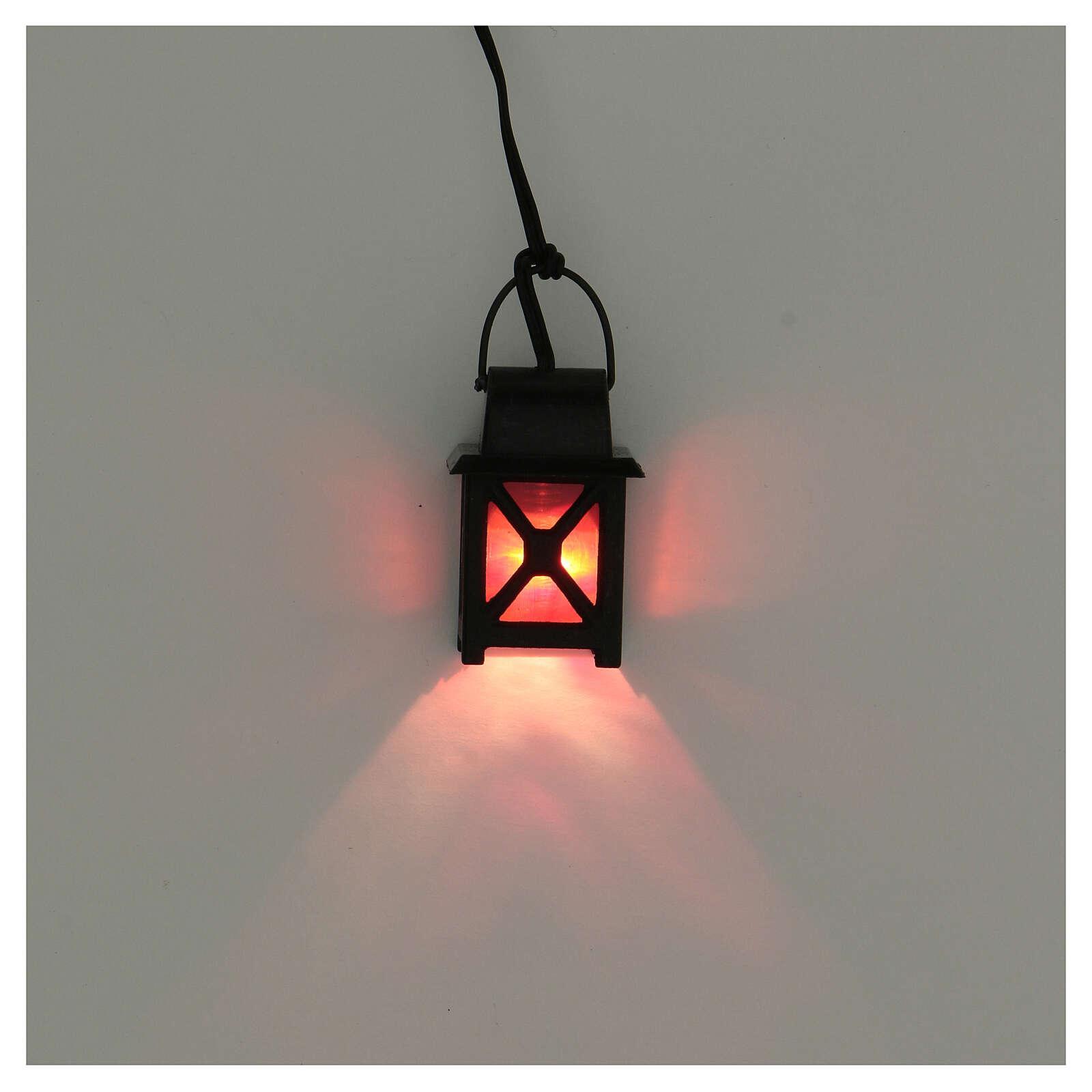 Lanterna bassa tensione luce rossa presepe 8-10 cm 4