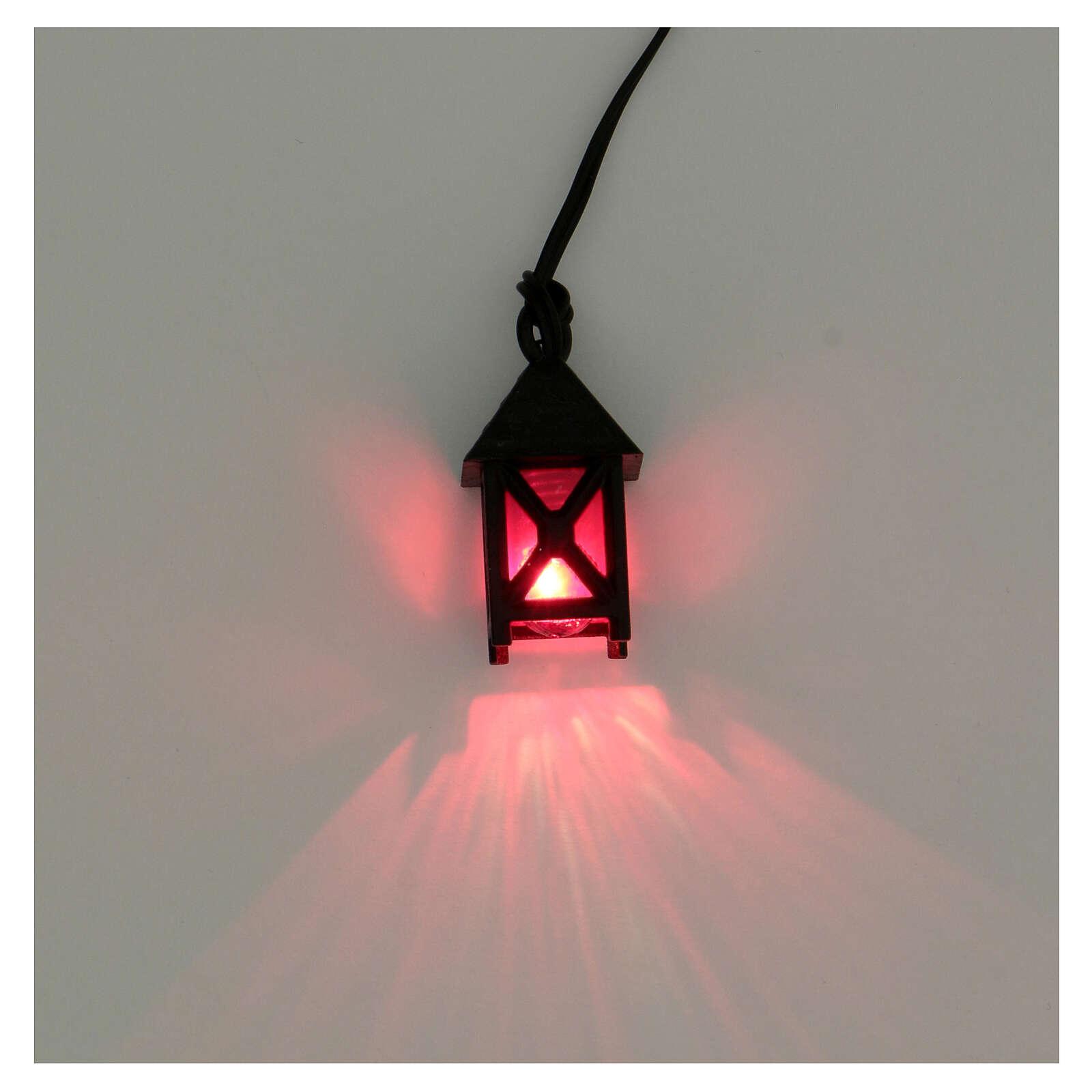Lanterna de luz vermelha em miniatura para presépio com figuras altura média 8 cm; medidas: 2,5x1,5x1,5 cm 4