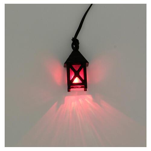 Lanterna de luz vermelha em miniatura para presépio com figuras altura média 8 cm; medidas: 2,5x1,5x1,5 cm 2