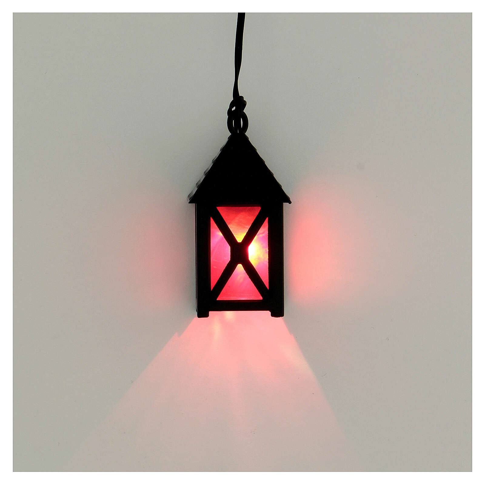 Lanterna de luz vermelha em miniatura 5 cm baixa voltagem para presépio com figuras altura média 10 cm 4