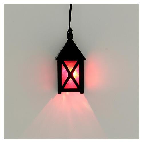 Lanterna de luz vermelha em miniatura 5 cm baixa voltagem para presépio com figuras altura média 10 cm 2