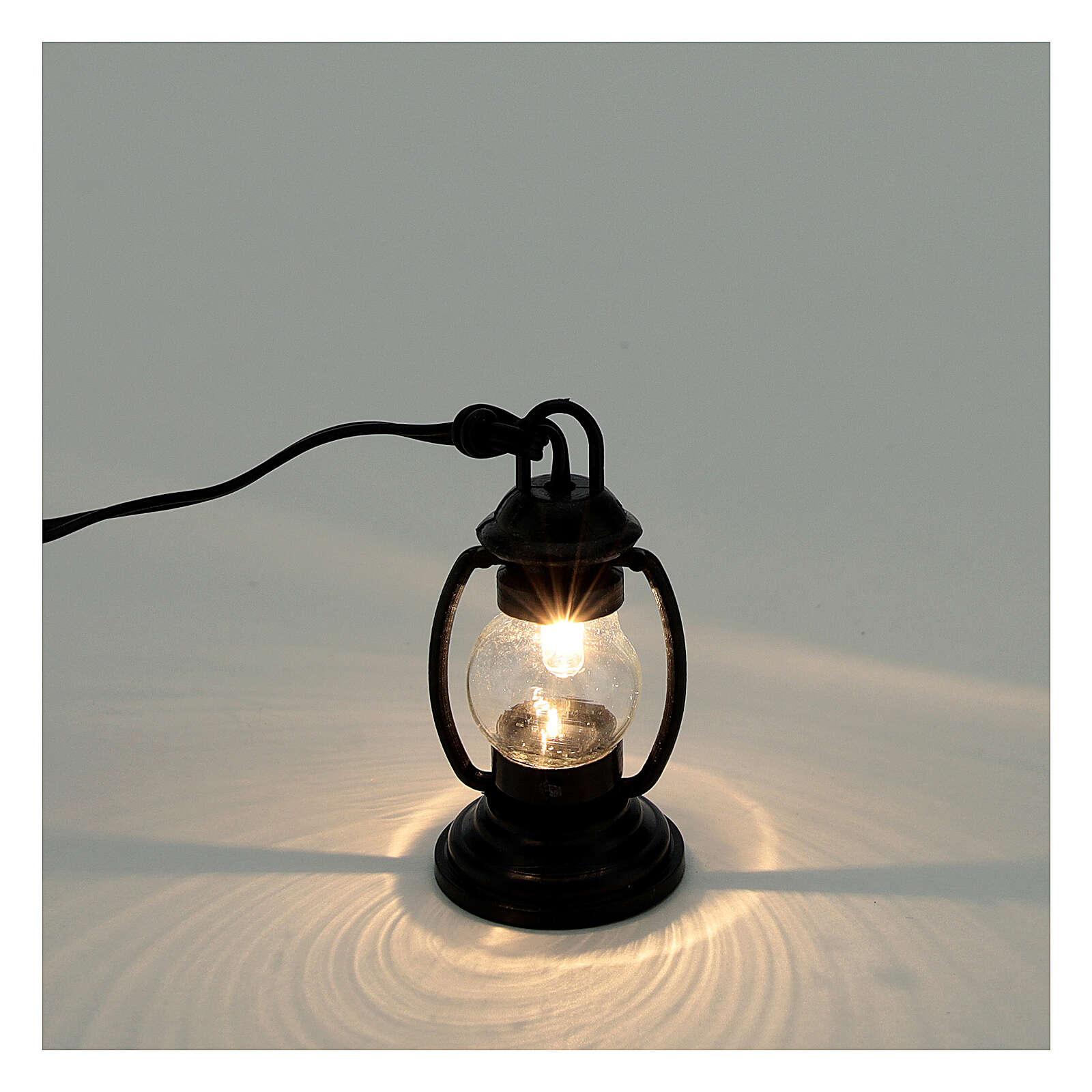 Lanterna de luz branca em miniatura estilo antigo 4 cm 3,5 V para presépio com figuras altura média 8-10 cm 4