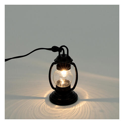 Lanterna de luz branca em miniatura estilo antigo 4 cm 3,5 V para presépio com figuras altura média 8-10 cm 2