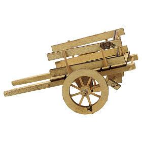 Carretto presepe 10 cm legno chiaro con manici 5x15x5 cm s1
