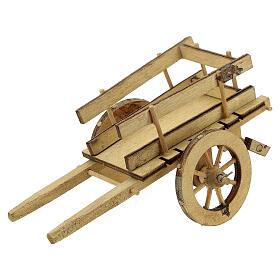 Carretto presepe 10 cm legno chiaro con manici 5x15x5 cm s2