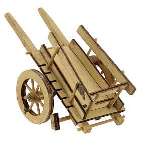 Carretto presepe 10 cm legno chiaro con manici 5x15x5 cm s3