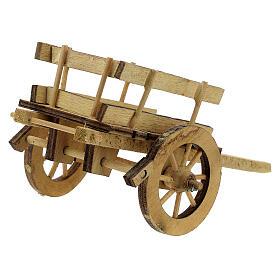 Carretto presepe 10 cm legno chiaro con manici 5x15x5 cm s4