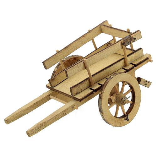Carretto presepe 10 cm legno chiaro con manici 5x15x5 cm 2