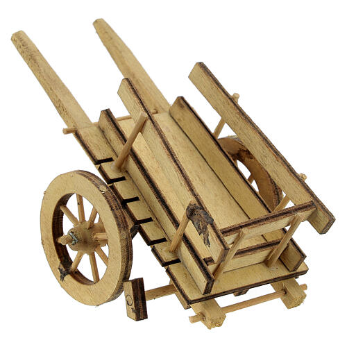Carretto presepe 10 cm legno chiaro con manici 5x15x5 cm 3