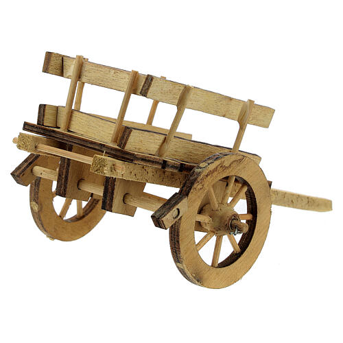 Carretto presepe 10 cm legno chiaro con manici 5x15x5 cm 4