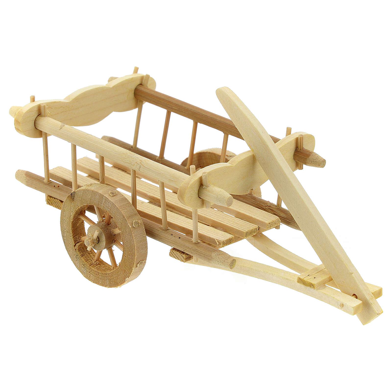 Carretinha em miniatura de madeira clara com engate para presépio com figuras de altura média 12 cm; medidas: 8x16,5x7,5 cm 4