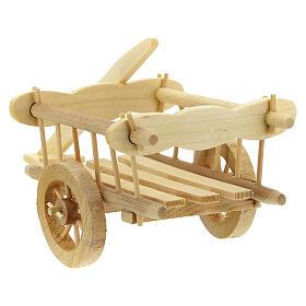 Carretinha em miniatura de madeira clara com engate para presépio com figuras de altura média 12 cm; medidas: 8x16,5x7,5 cm s4