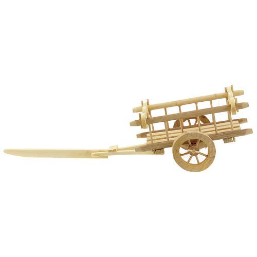 Carretinha em miniatura de madeira clara com engate para presépio com figuras de altura média 12 cm; medidas: 8x16,5x7,5 cm 3