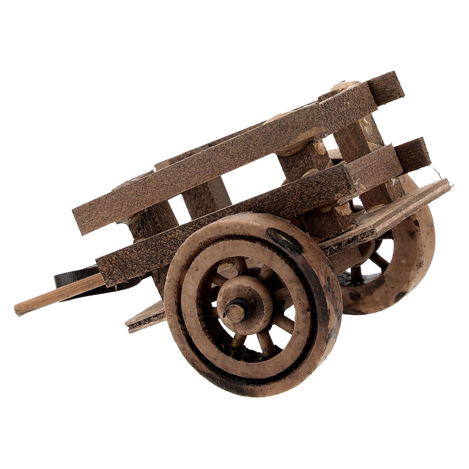 Carretto presepe 10 cm con laccio legno scuro 5x10x5 cm 4