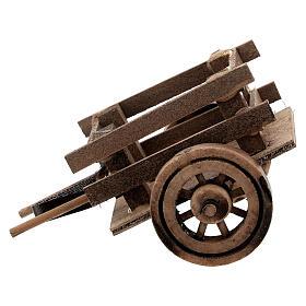 Carretto presepe 10 cm con laccio legno scuro 5x10x5 cm s1
