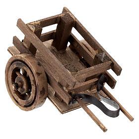 Carretto presepe 10 cm con laccio legno scuro 5x10x5 cm s2