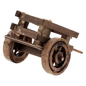 Carretto presepe 10 cm con laccio legno scuro 5x10x5 cm s4