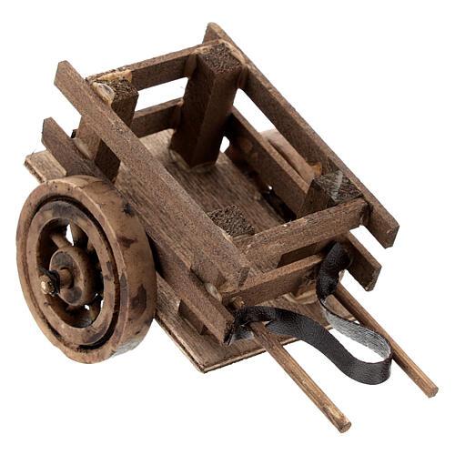 Carretto presepe 10 cm con laccio legno scuro 5x10x5 cm 2