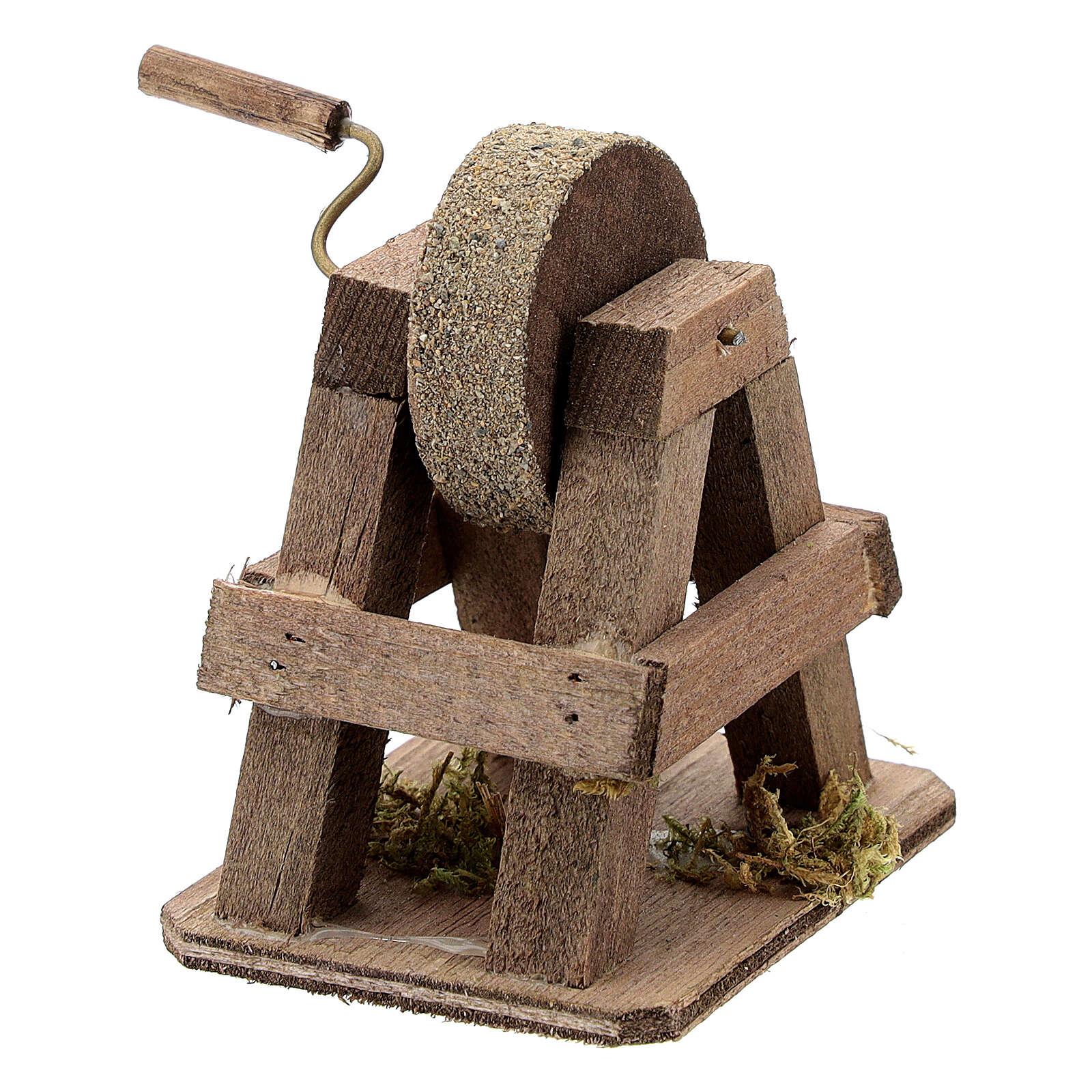 Mola arrotino legno con piedistallo presepe 12 cm 4