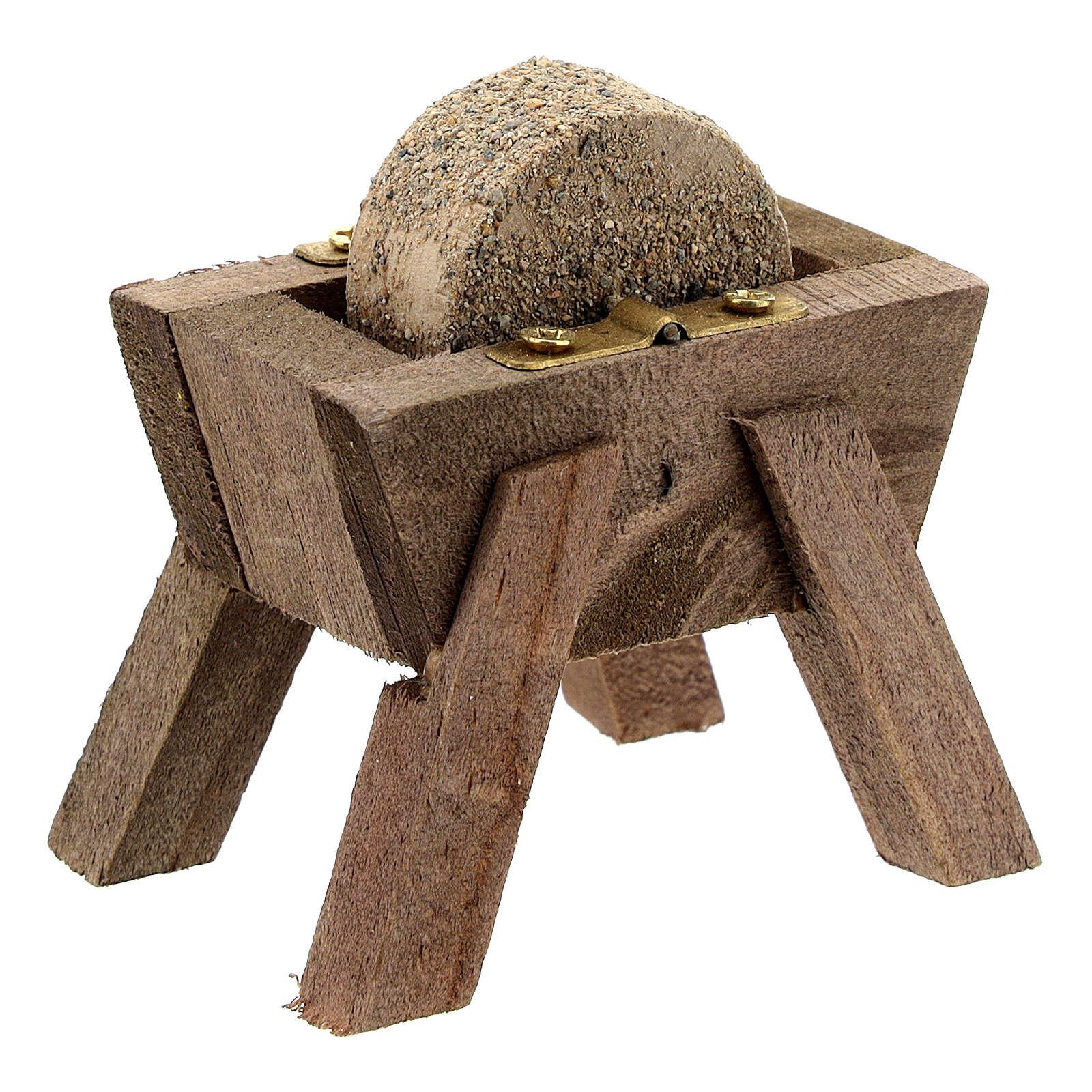 Mola arrotino legno dettagli metallo presepe 12 cm 4