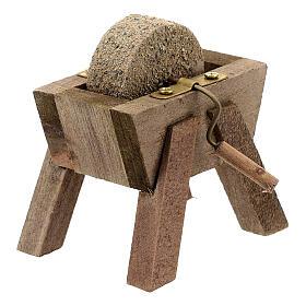 Mola arrotino legno dettagli metallo presepe 12 cm s2