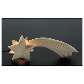 Estrella cometa madera y luz 3,5V 15x5x2 cm s2