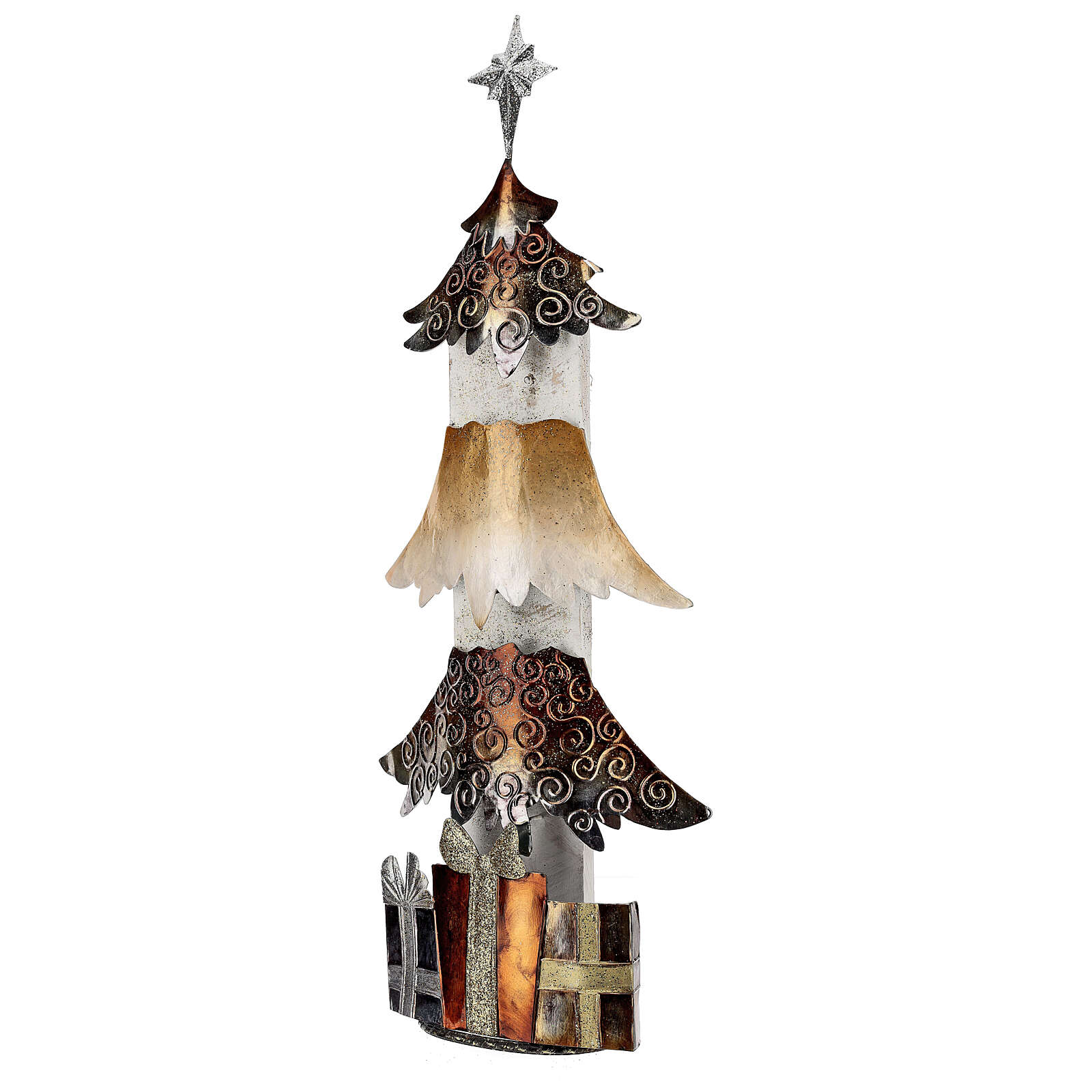 Albero di natale con regali metallo h 62 cm 3