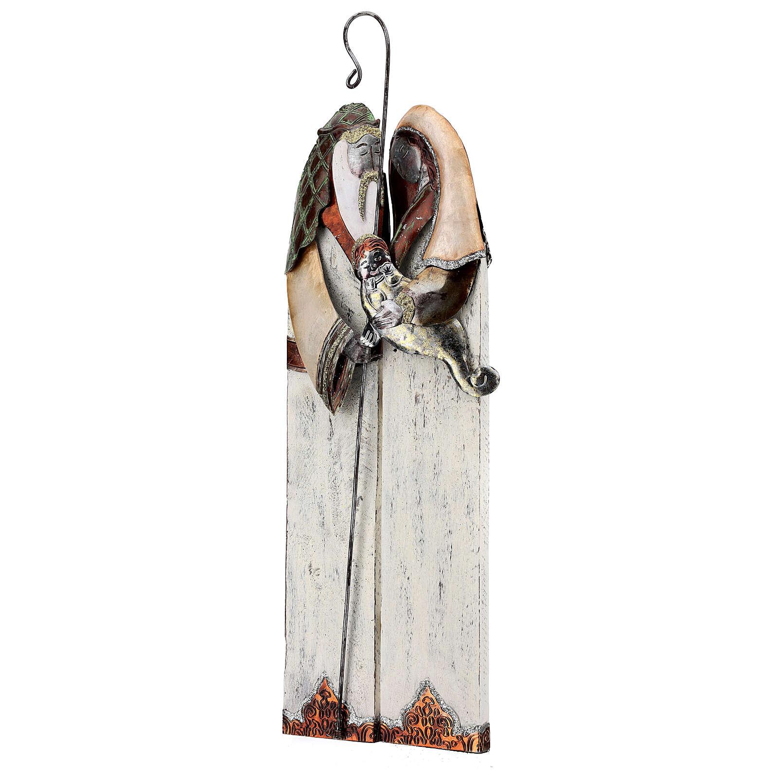 Statua Sacra Famiglia metallo stilizzata h 60 cm 4