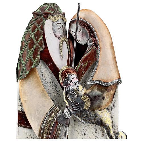 Statua Sacra Famiglia metallo stilizzata h 60 cm 2
