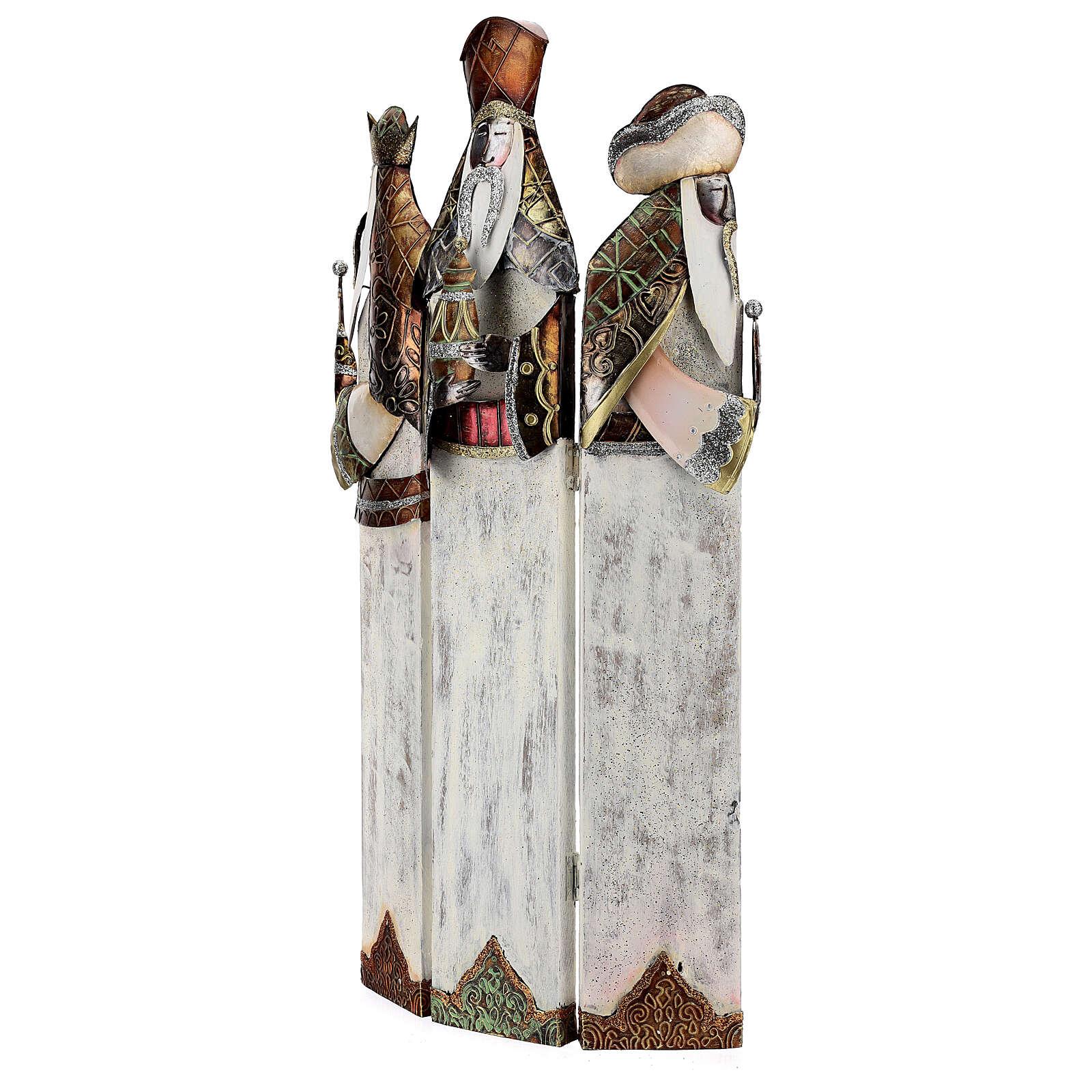 Tre Re Magi stilizzati statua metallo h 57 cm 4