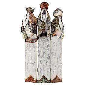 Tre Re Magi stilizzati statua metallo h 57 cm s1