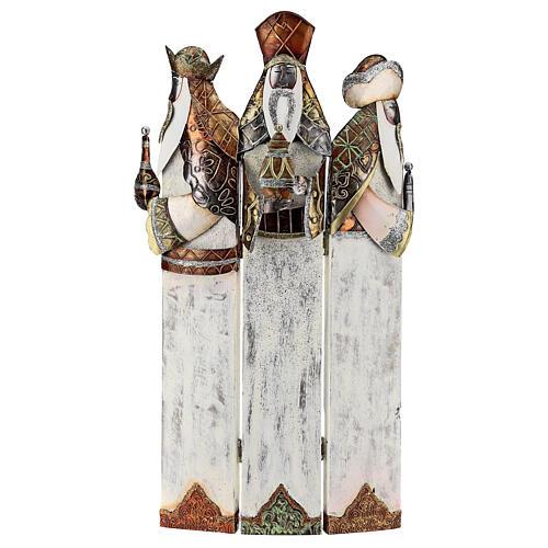 Tre Re Magi stilizzati statua metallo h 57 cm 1