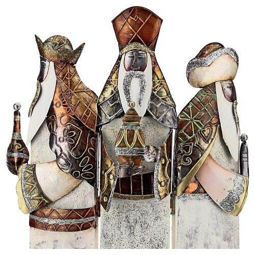 Tre Re Magi stilizzati statua metallo h 57 cm 2