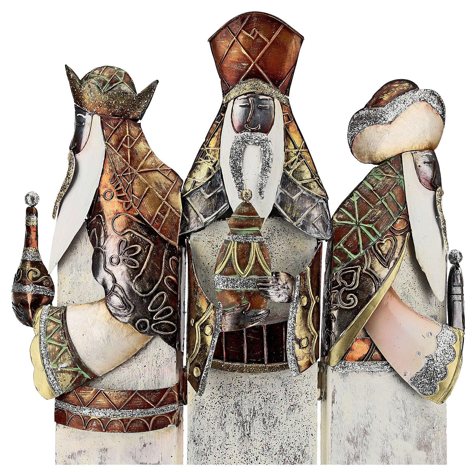 Três Reis Magos estilizados metal altura 57 cm 4