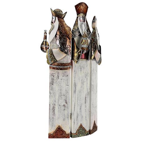 Três Reis Magos estilizados metal altura 57 cm 3