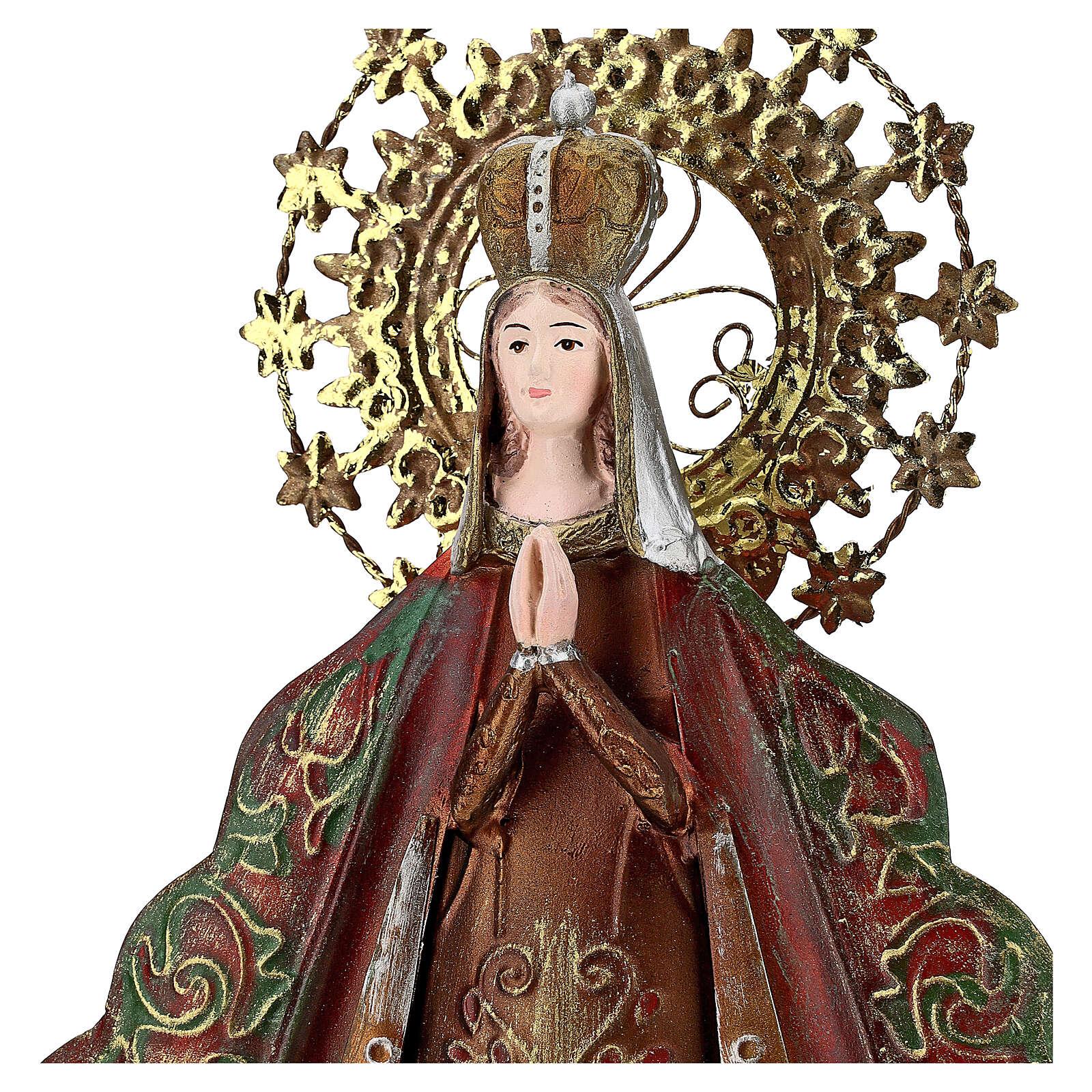 Estatua Virgen aureola estrellas corona metal h 51 cm 3